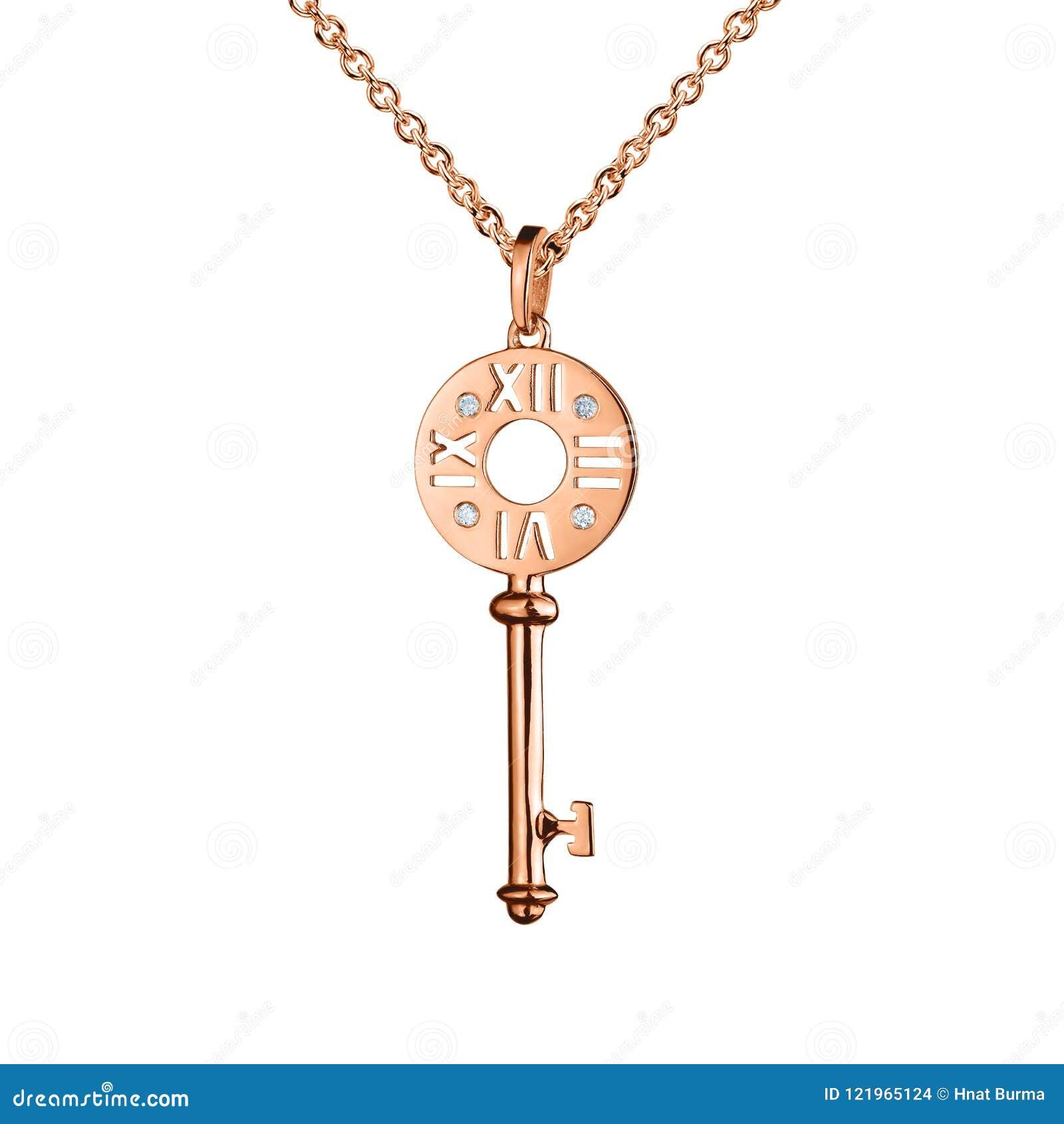 Jewelry Golden Pendant With Diamonds, Key With Watch Marks