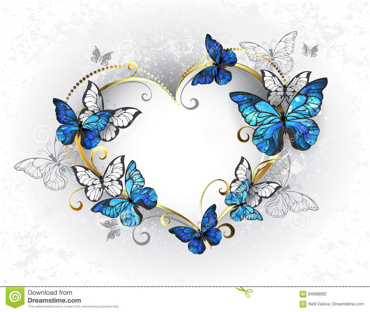 Jewelry heart with butterflies morpho