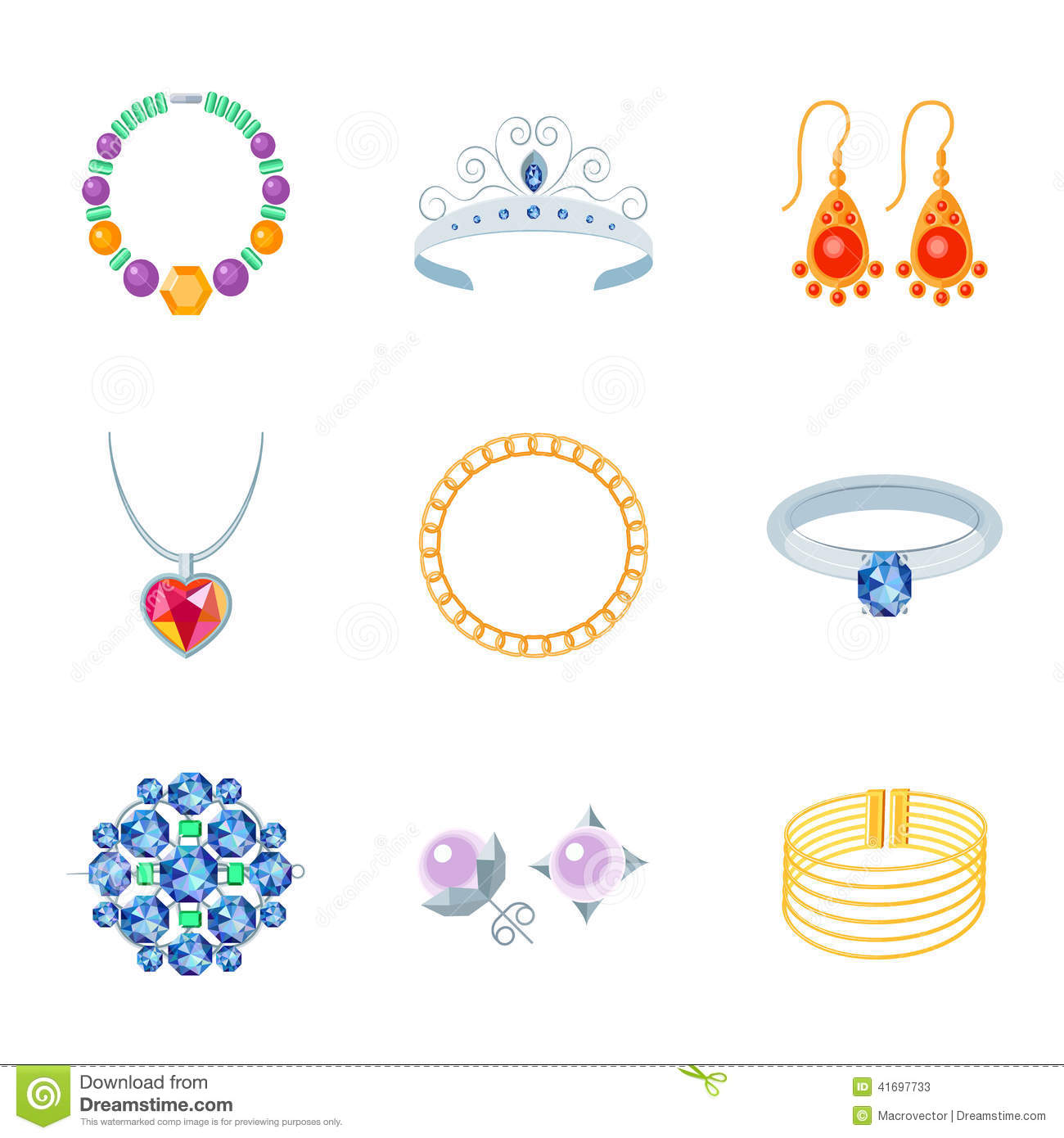 Jewelry Icons Flat Stock Vector Image 41697733