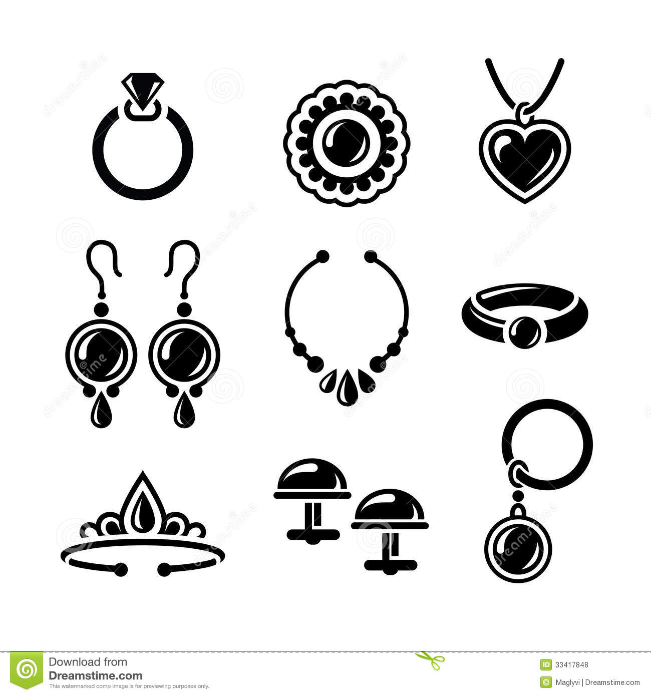 Line Art Earrings : Jewelry icons stock vector illustration of fashion links
