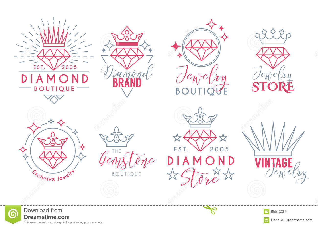 Jewelry Logo Set For Jewelry Stor Stock Vector - Illustration of ...