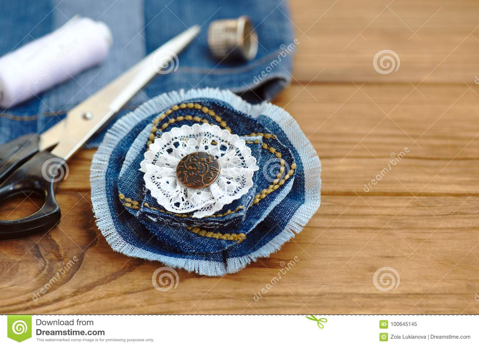 Denim Flower Accessory Scissors Thread Thimble Needle Female
