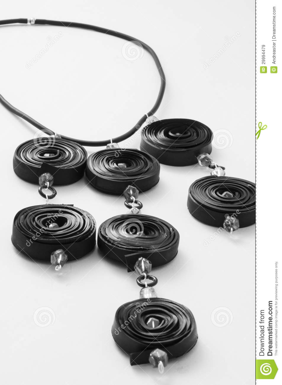 Ecojewelry Necklace From Bicycle Inner Tube Stock Image
