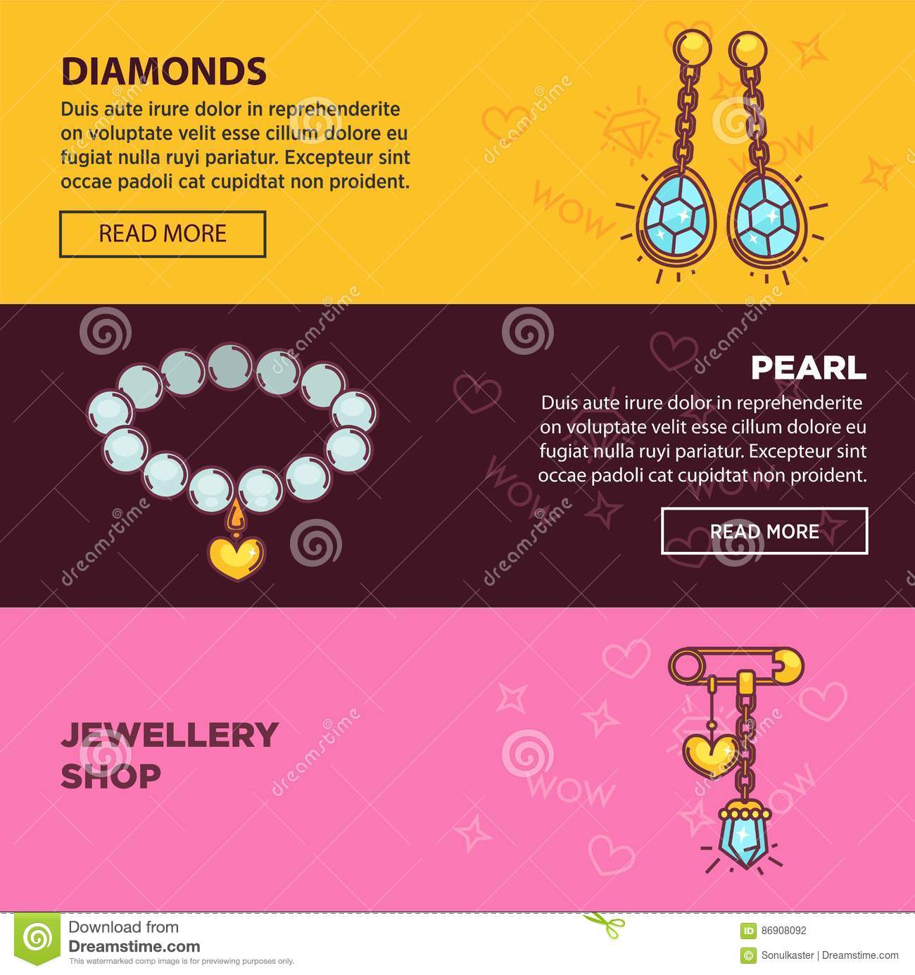 Jewelry Online Shop Web Banners Vector Flat Template Design Stock ...