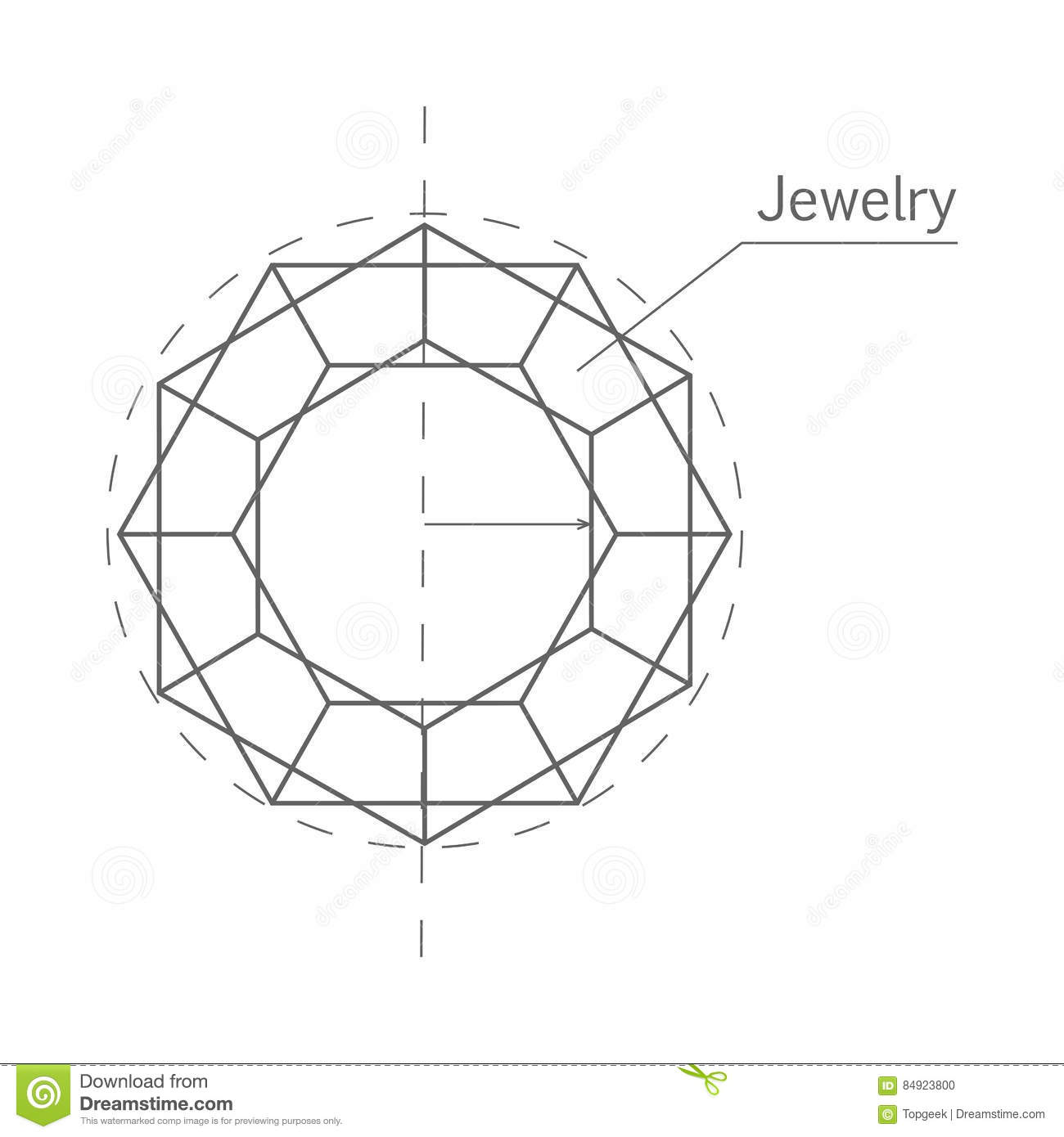 Jewelry Production Sketch Isolated Precious Stone Stock Vector
