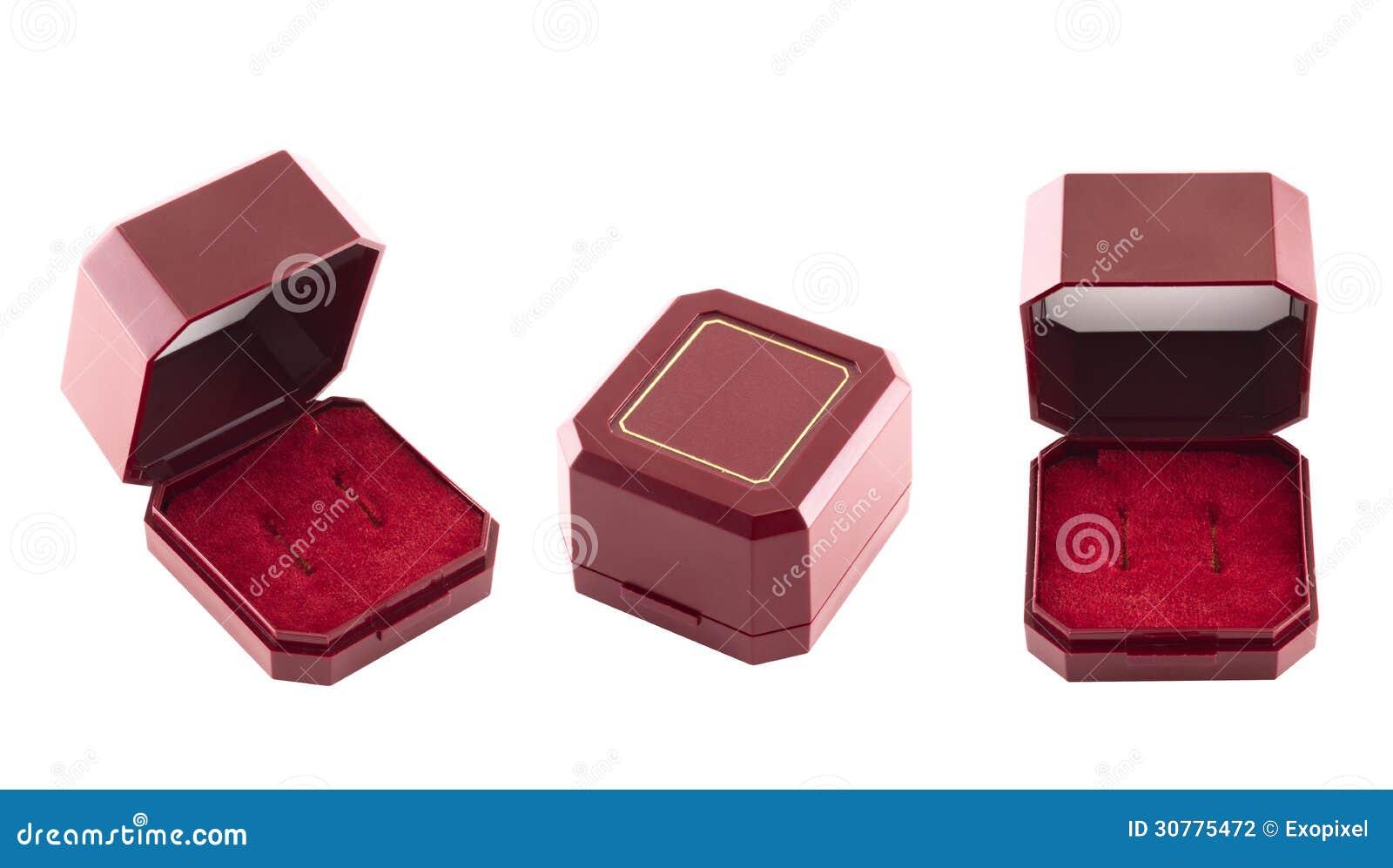 Jewelry red velvet gift box isolated stock photography for Red velvet jewelry gift boxes