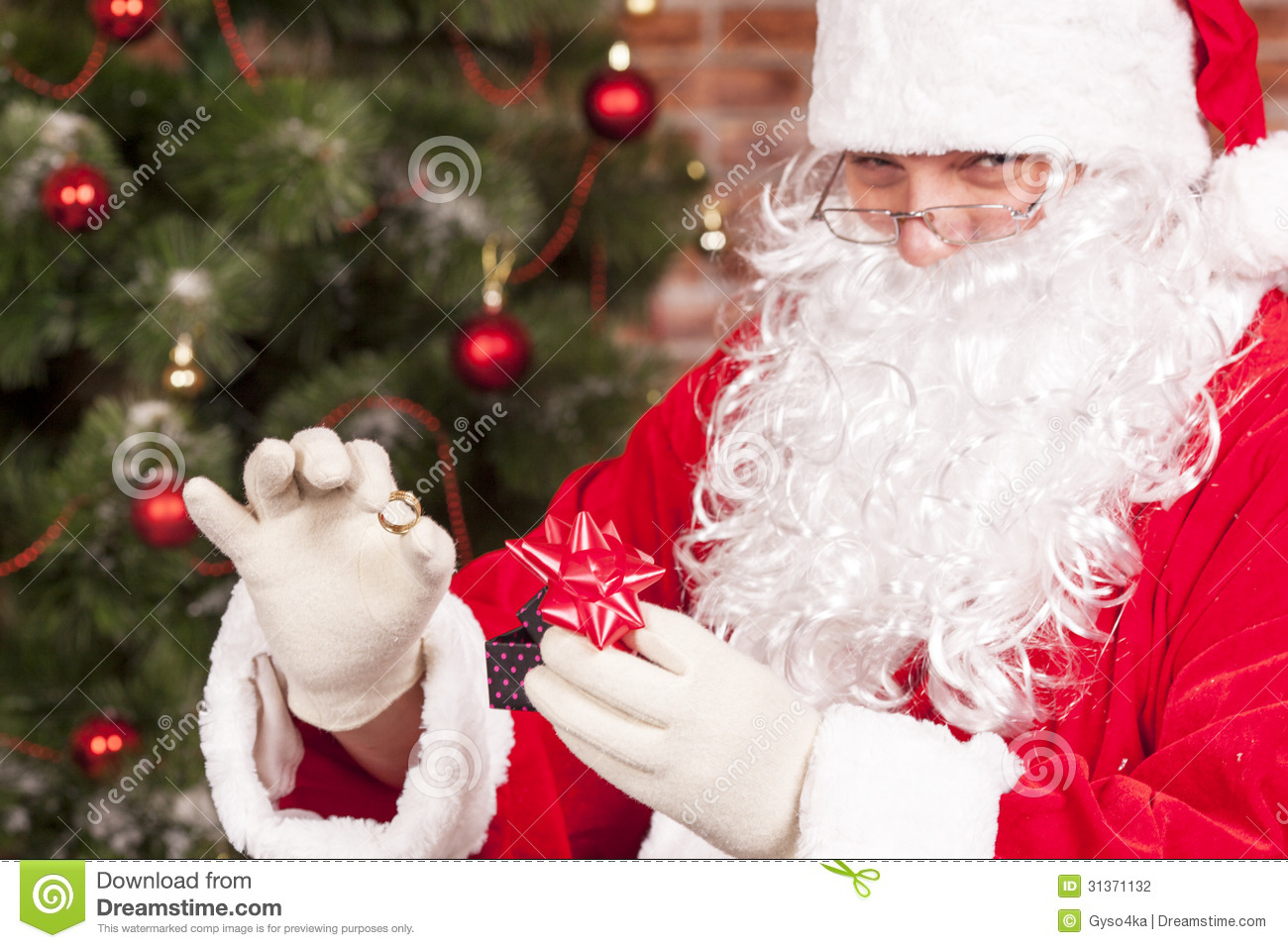 Jewelry Ring Gift Santa Claus Stock Photography
