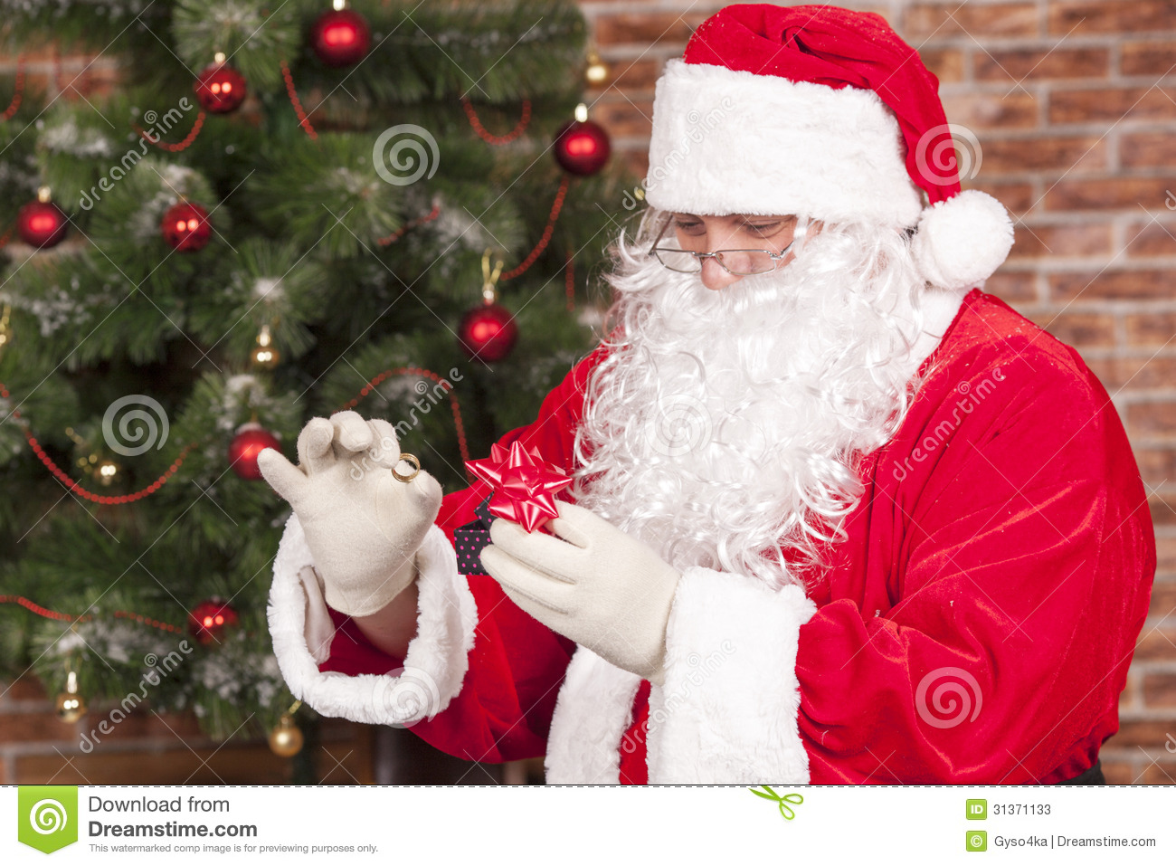 Jewelry Ring Gift Santa Claus Stock Photos