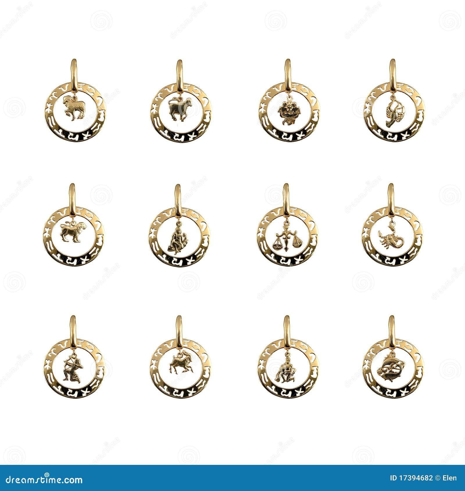 Jewelry - twelve symbols of the zodiac, horoscope