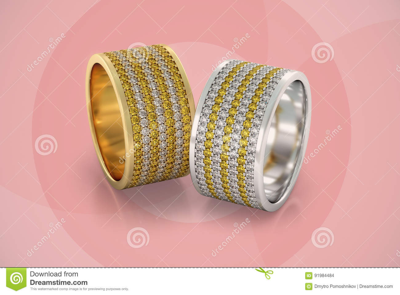 Jewelry Wedding Bands Diamonds Rings Gold 3D Rendering Stock ...