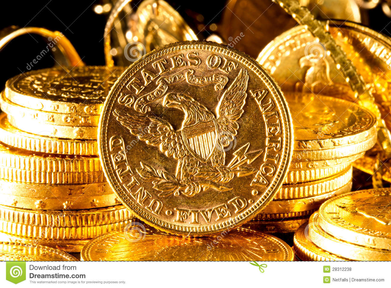 Jewels And Gold Coins Royalty Free Stock Photos Image