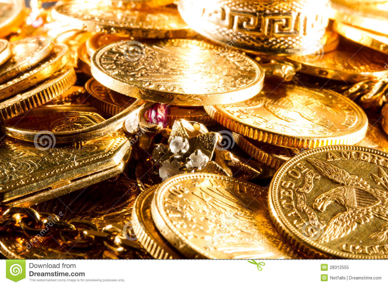 jewels and gold coins royalty free stock photo   image