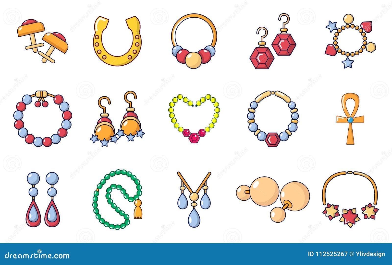 Jewerly ikony set, kreskówka styl
