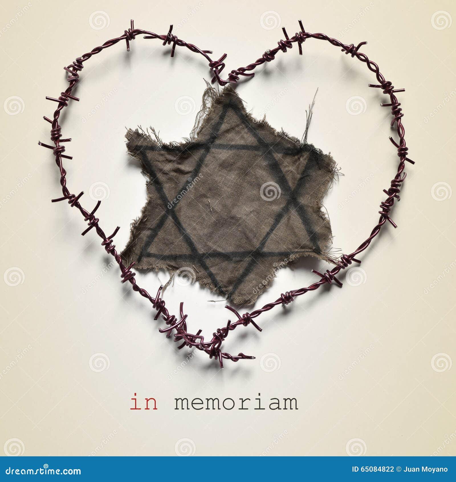 Jewish badge and text in memoriam
