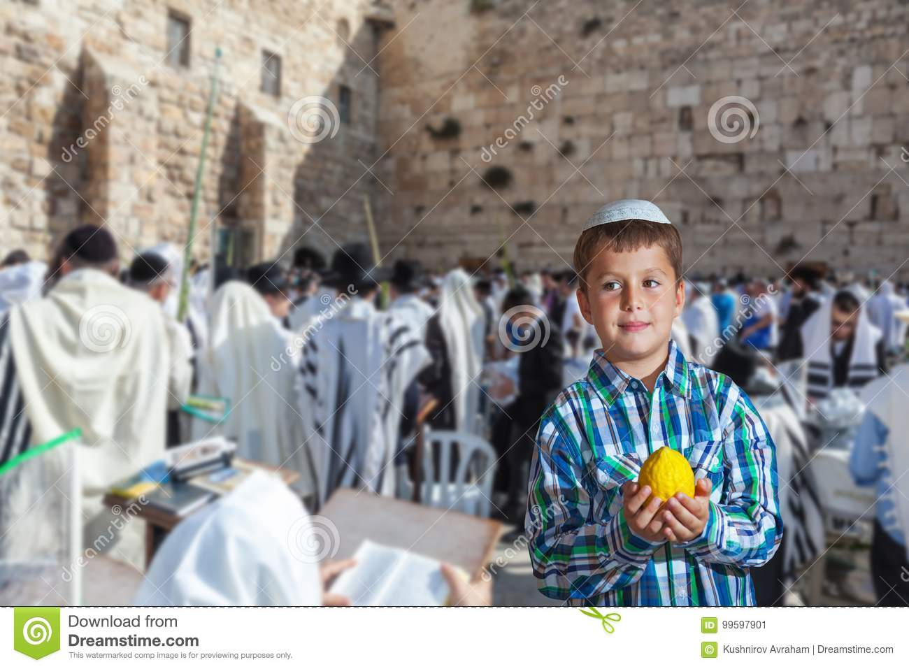 Jewish Boy In White Skullcap Stock Image - Image of skullcap, sukkot