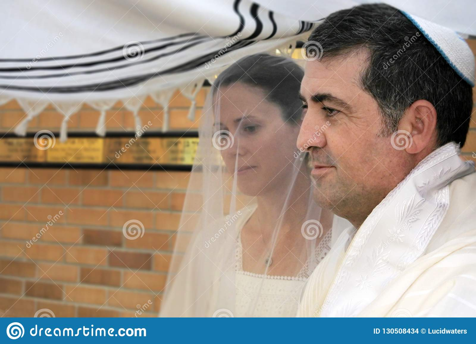 Jewish Bride And A Bridegroom Wedding Ceremony Stock Photo Image Of Jewish Emotion 130508434