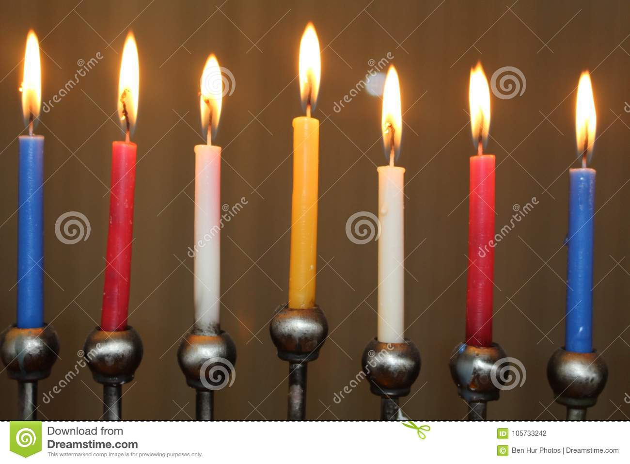 Jewish Festival Of Lights Hanukkah Holiday Menorah Candles In Red