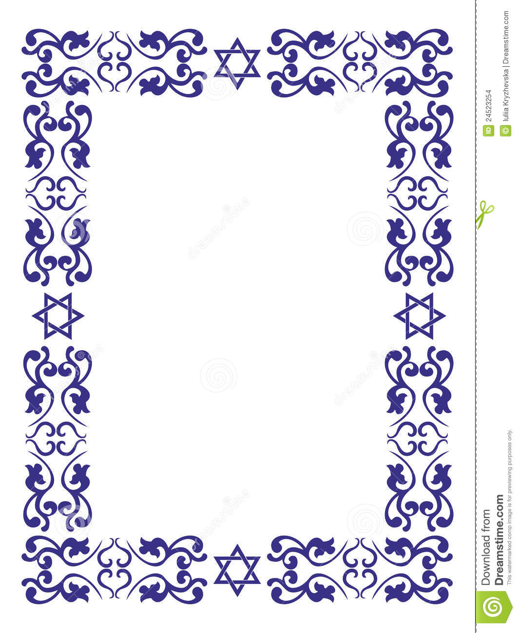 Jewish floral border with David star on white background , vector ...