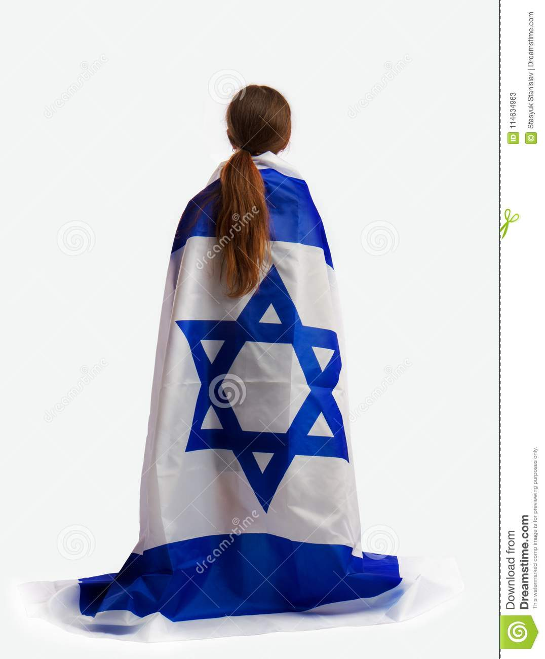 Jewish girl with a flag