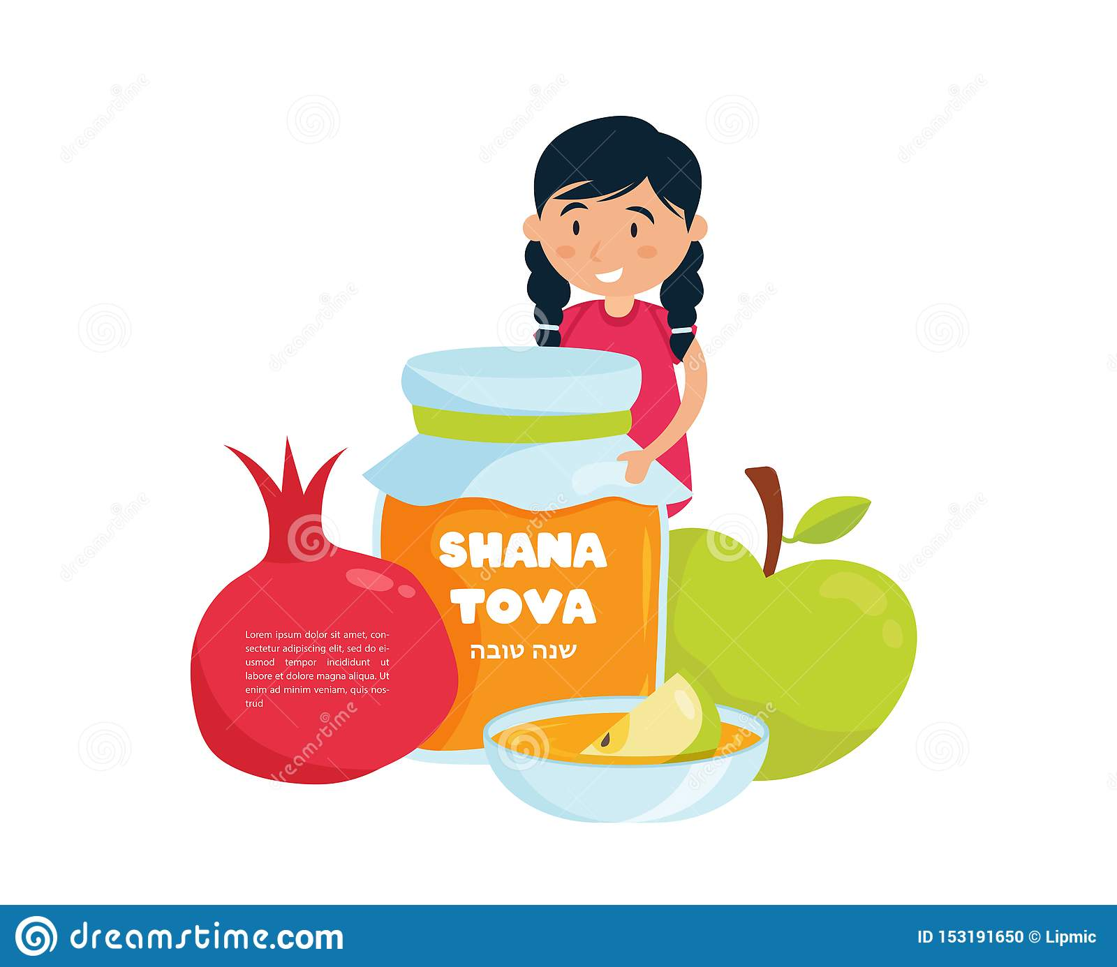 Jewish Happy new year in Hebrew,Rosh Hashanah, Little girl holding honey jar with Shana Tova, apples and pomegranate