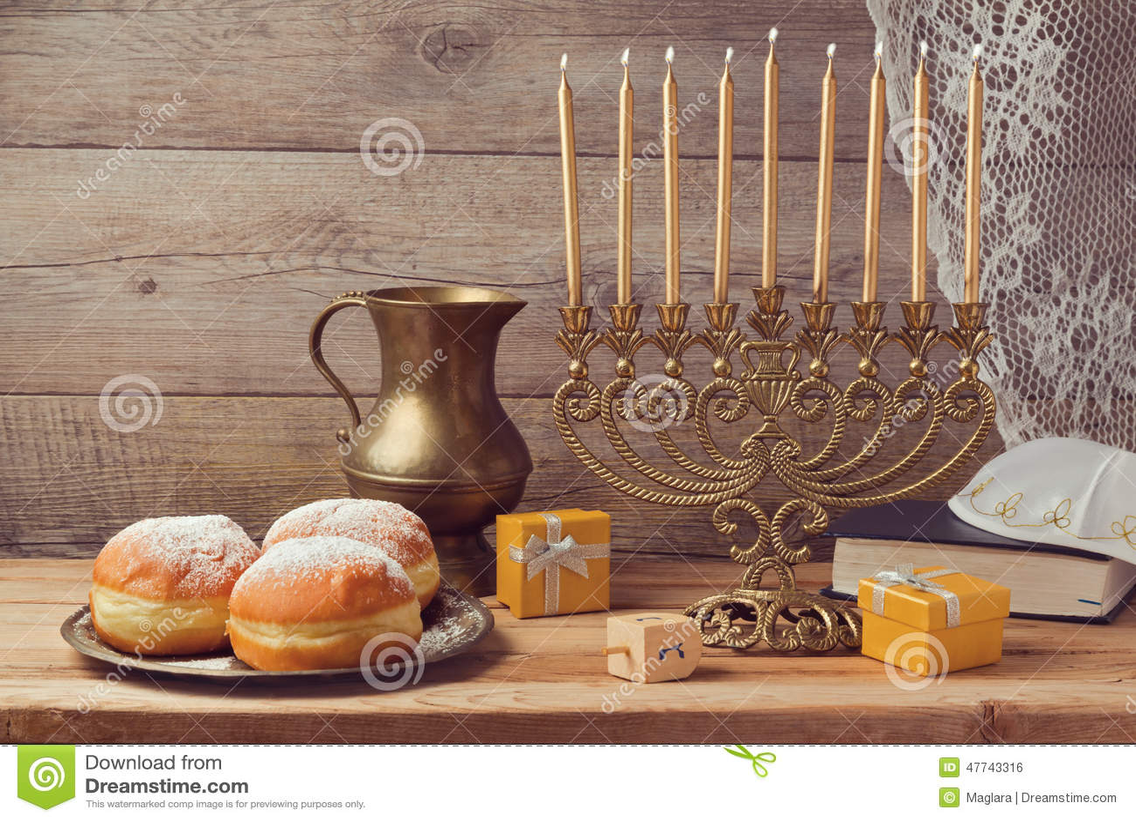 Jewish holiday Hanukkah celebration with vintage menorah