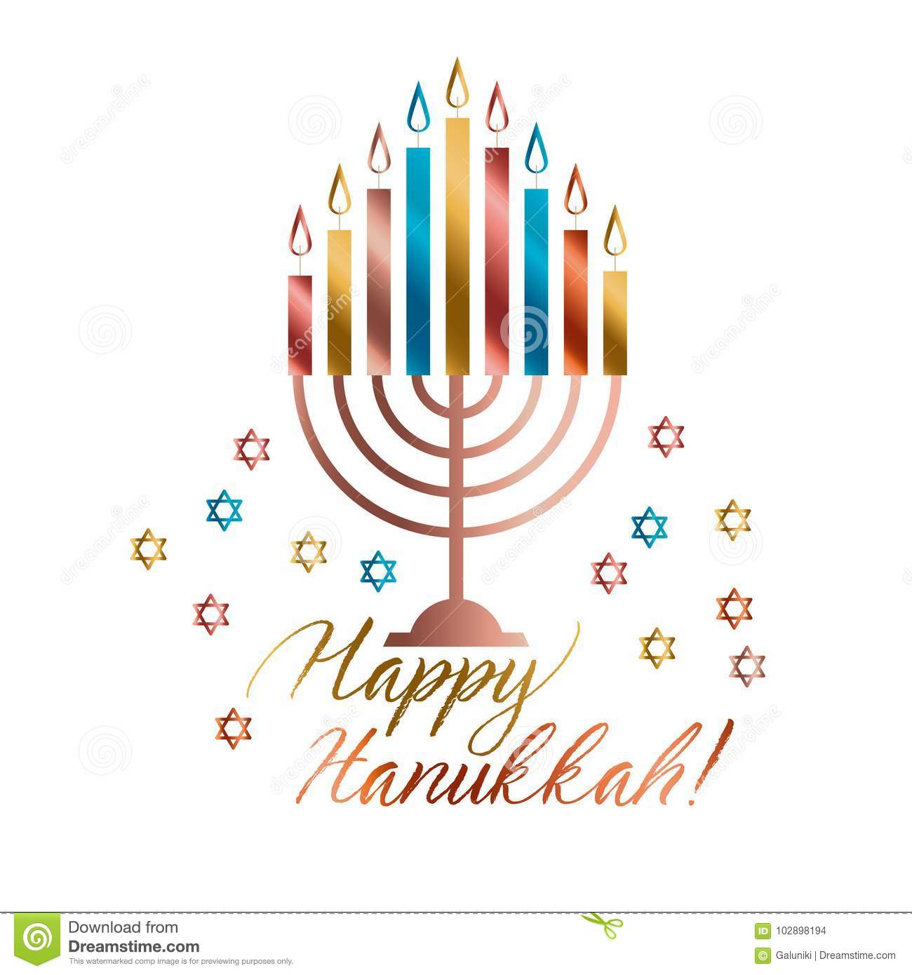 Jewish Holiday Hanukkah With Traditional Menorah Stock Vector