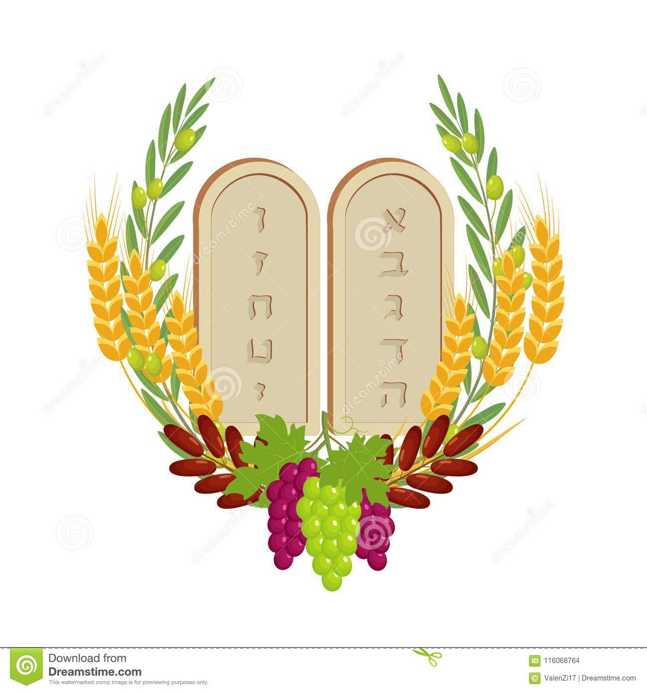 Shavuot, tablets of stone and fruits