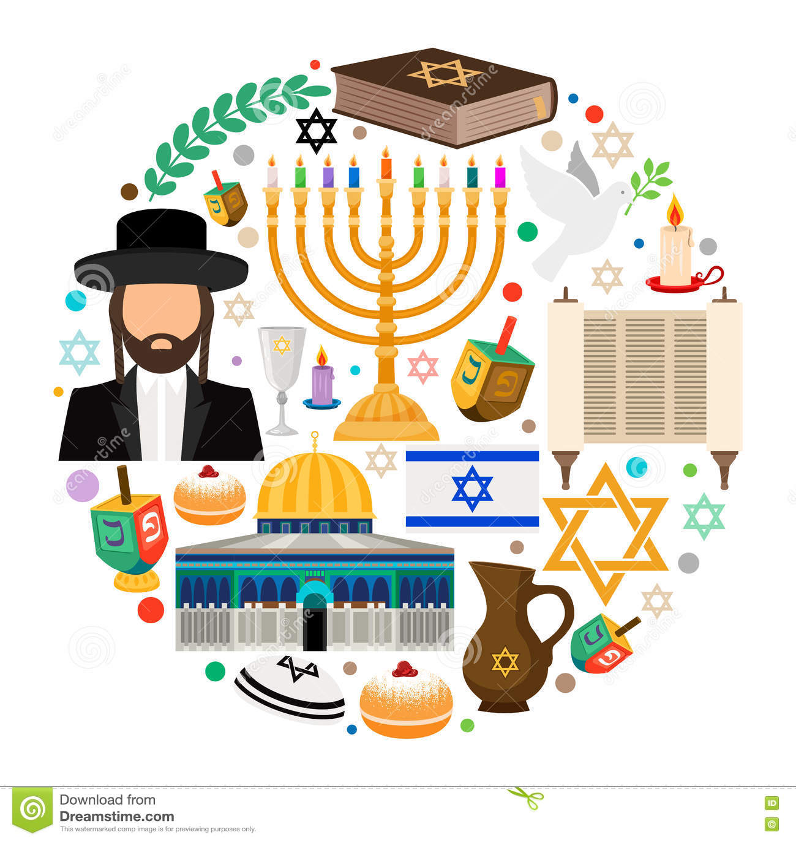 Jewish Holiday Symbols Stock Vector Illustration Of Decoration