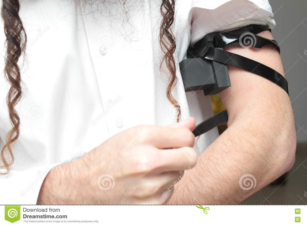 Jewish Man Wrapped In Tefillin Pray A Religious Orthodox