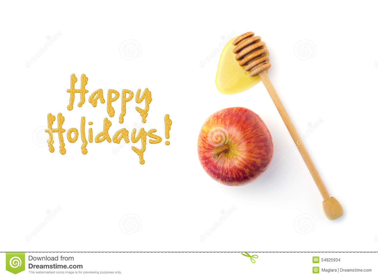 Jewish New Year Holiday Greeting Card Design With Apple ...