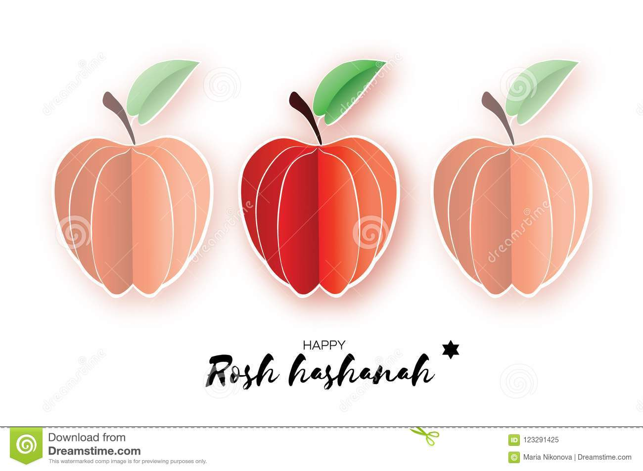 Jewish New Year Rosh Hashanah Apple Paper Cut Style Holiday