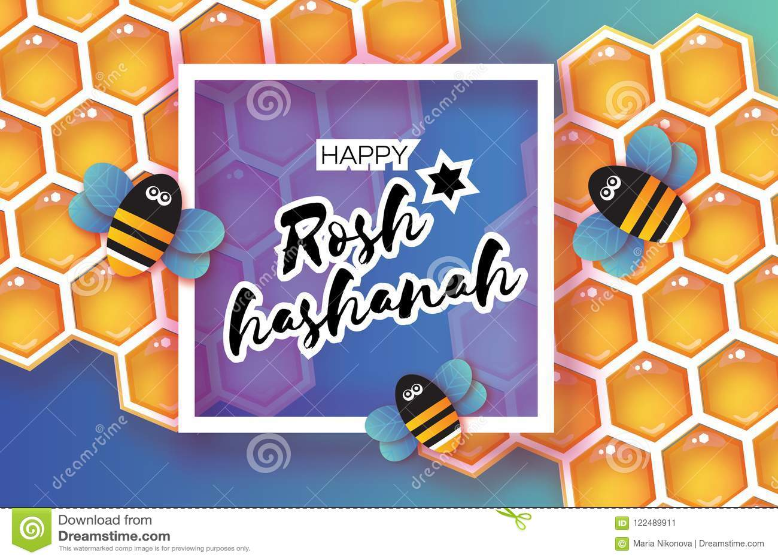 Jewish New Year Rosh Hashanah Greeting Card Origami Honey Gold