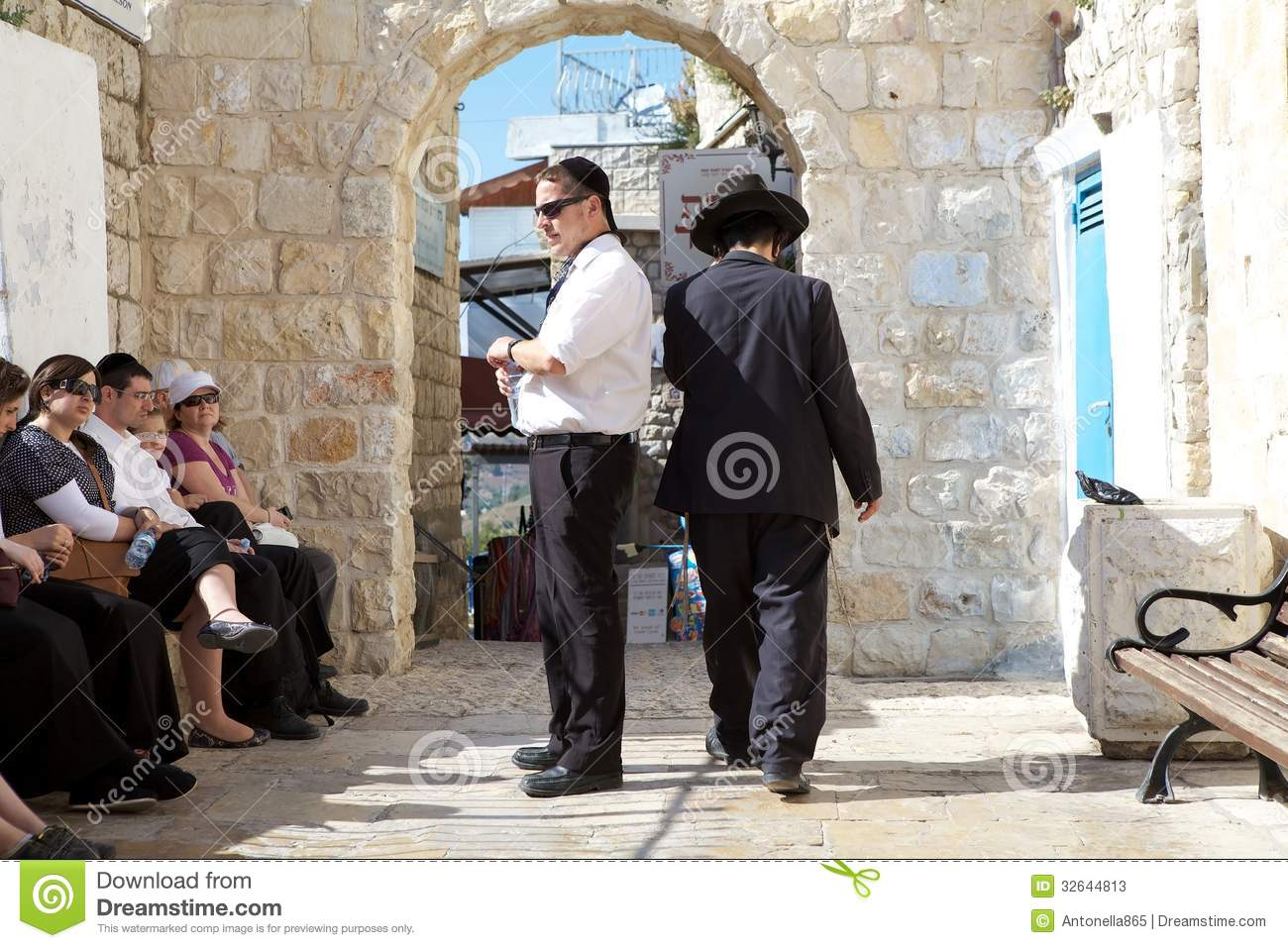 Jewish pilgrims in the courtyard of the synagogue Abuhav, Safed ...