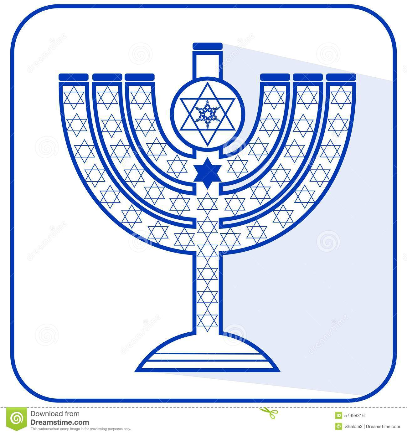 jewish seven branched candelabrum menorah with the star of david rh dreamstime com Cartoon Jewish Menorah without Candles Hanukkah Menorah
