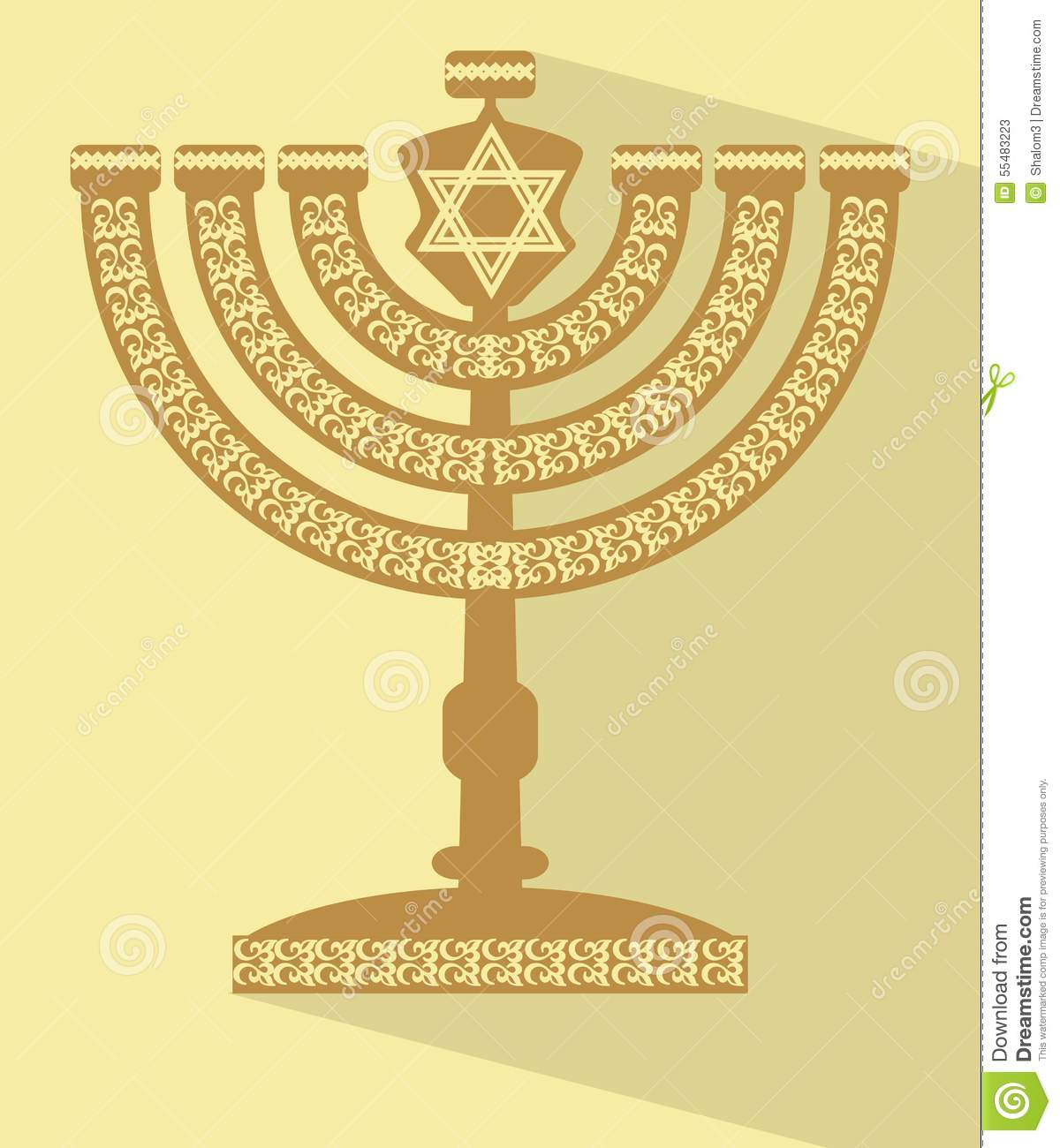 Jewish seven-branched candelabrum menorah with the Star of David, flat design vector illustration with long shadow, Yamim Noraim