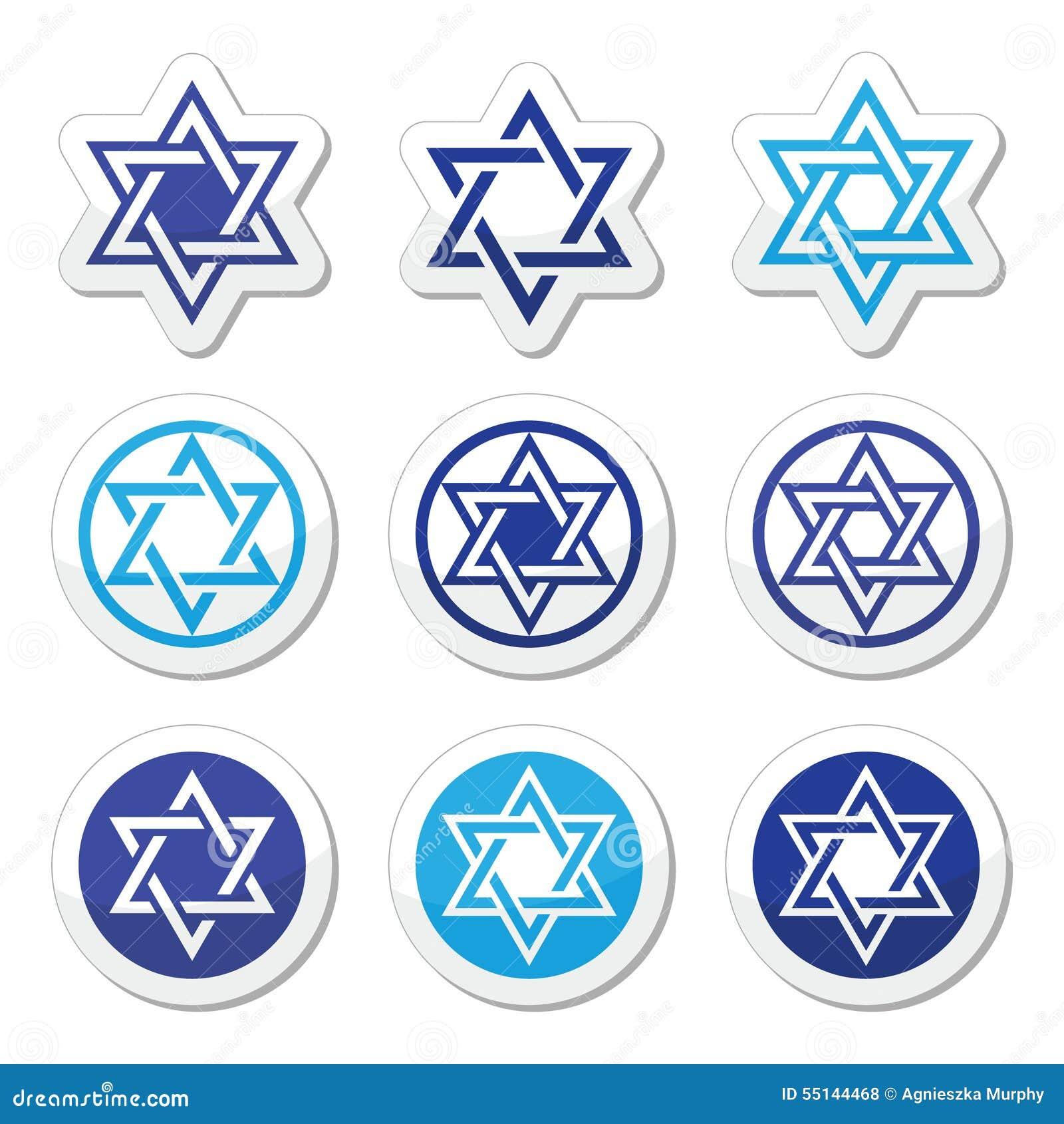 Jewish Star Of David Icons Set On White Illustration 55144468