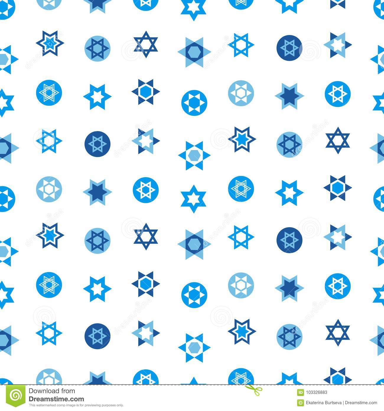 Jewish stars set seamless pattern. Star of David national Israel symbols. Judaism sign for textile, wallpaper, web page background. Vector illustration