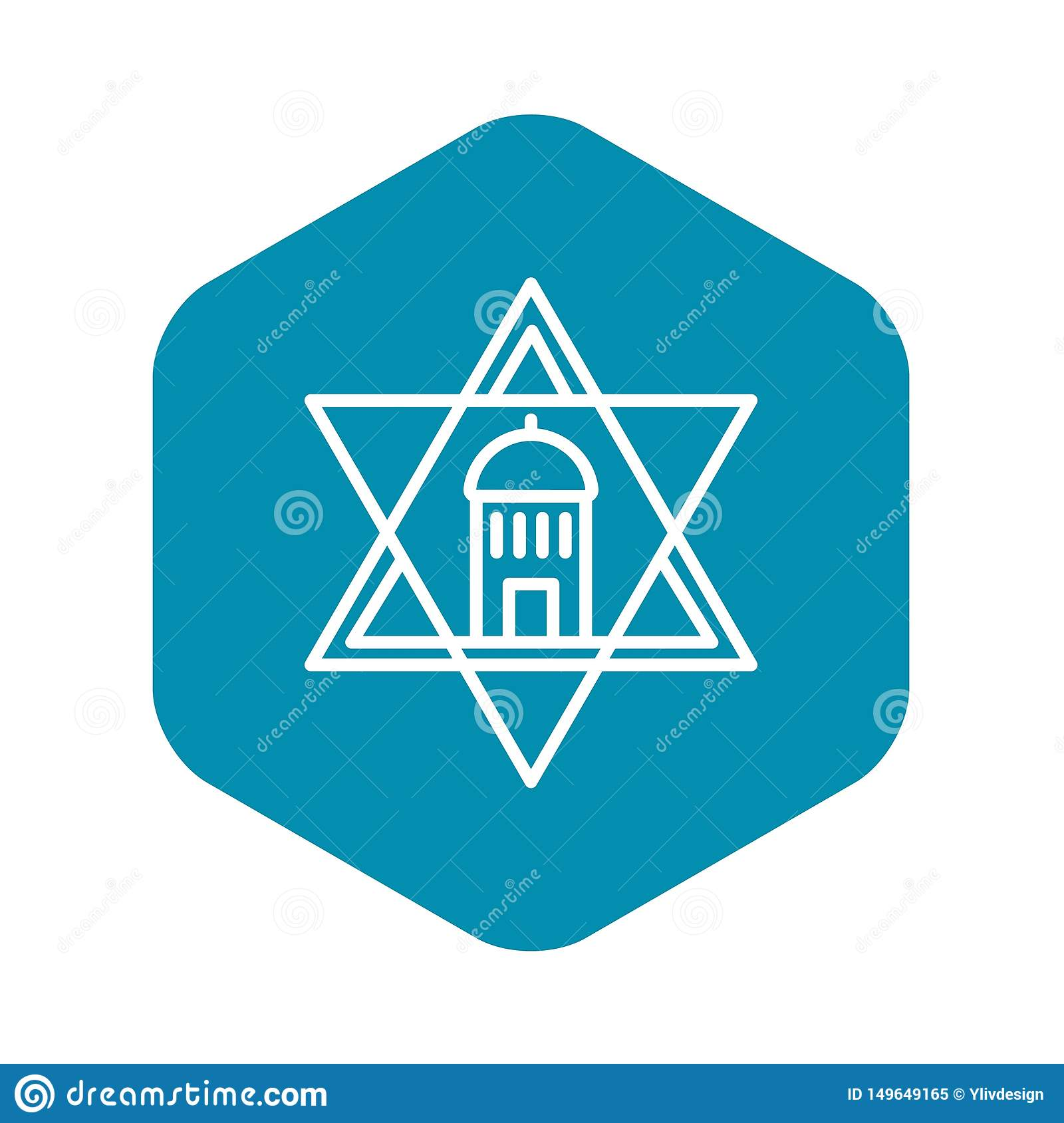 Jewish temple star icon, outline style