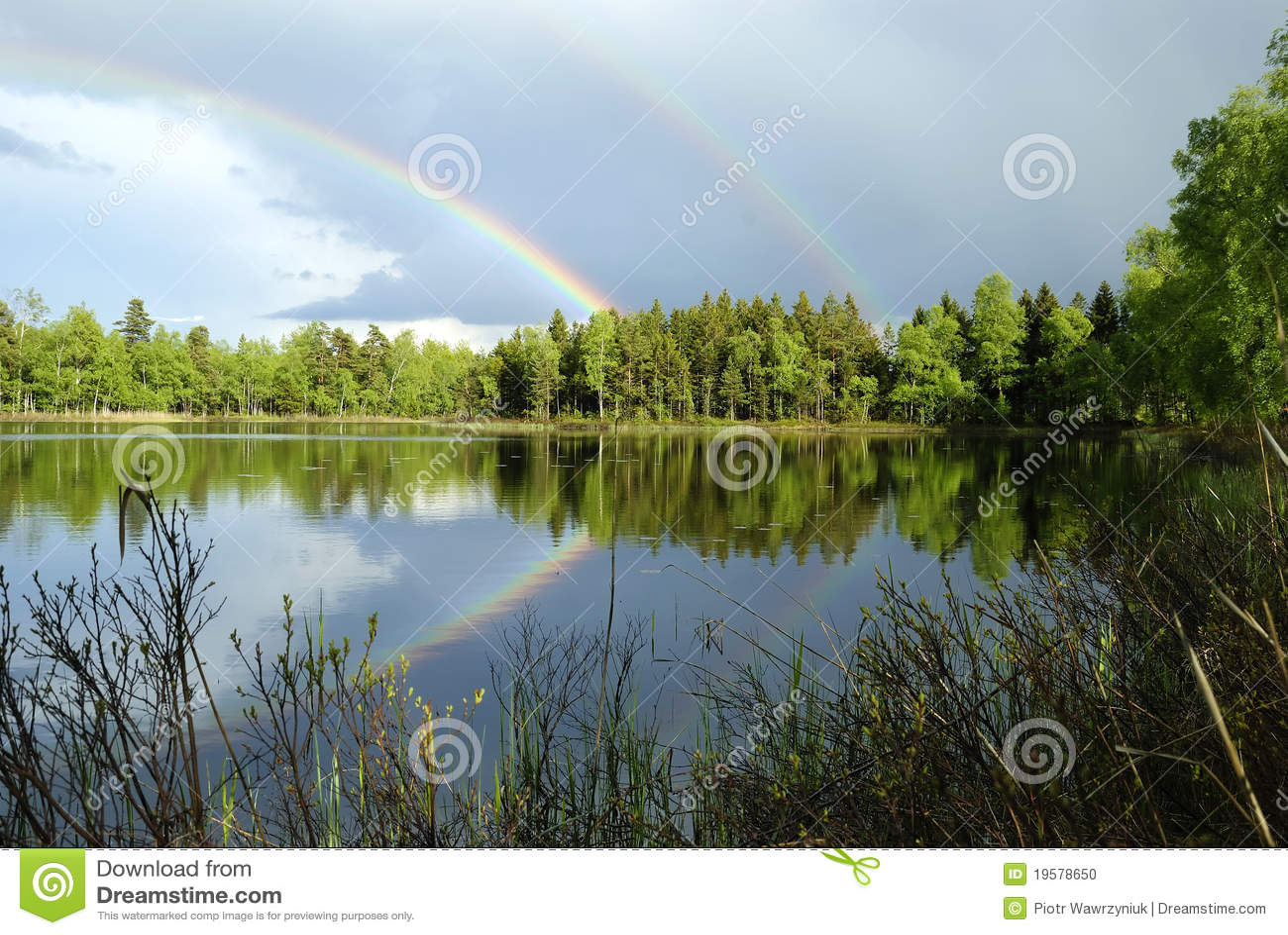 Jeziora krajobrazu deszczu szwedzi