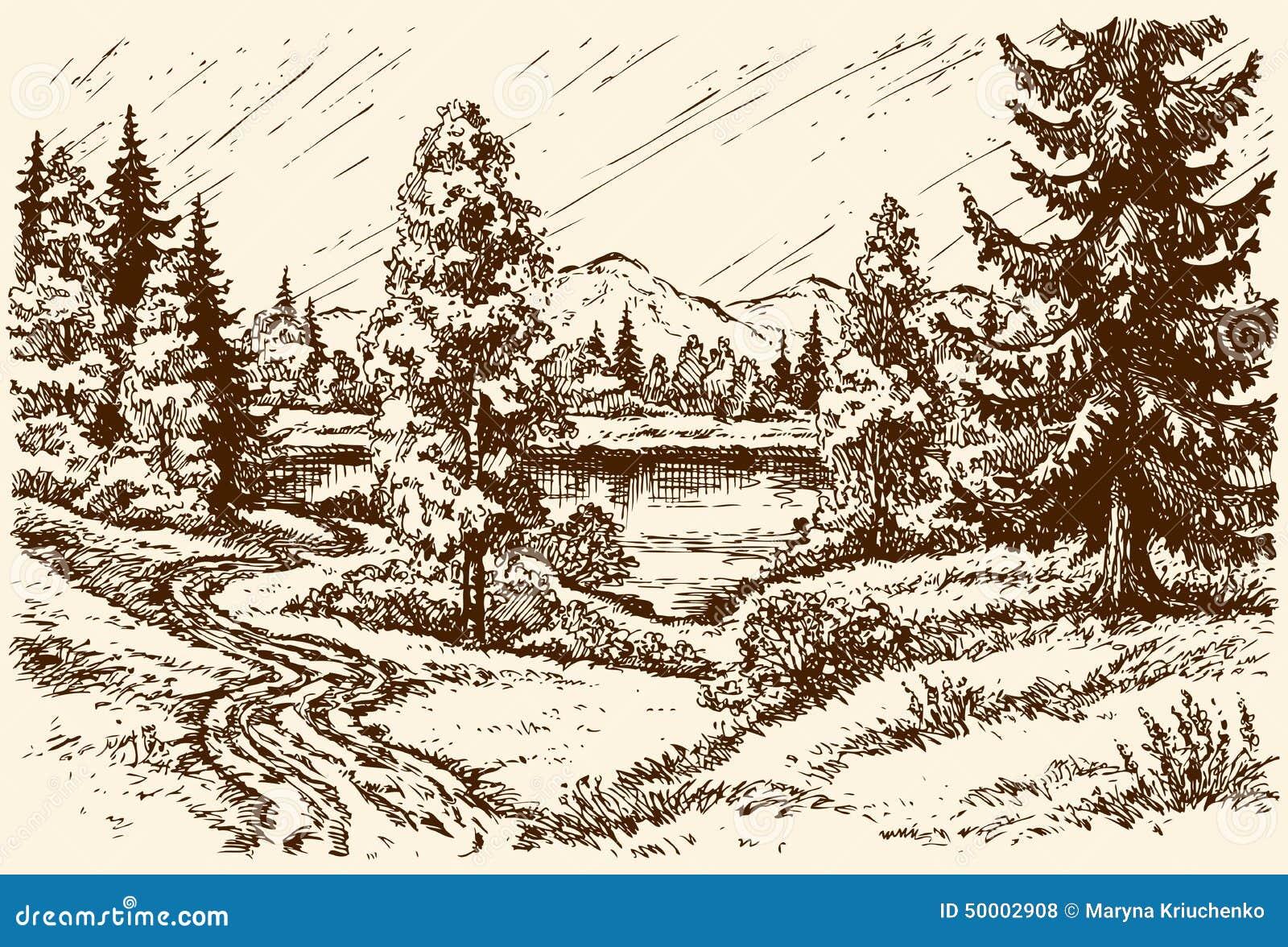 Jeziorna ścieżka Wektorowa sceneria