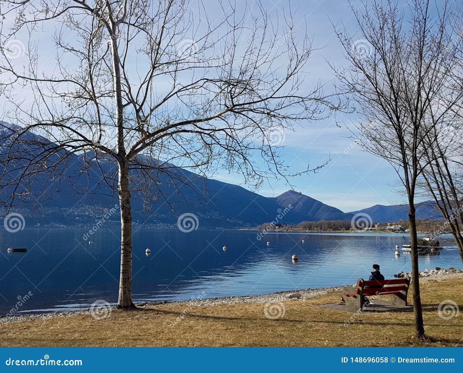 Jeziorny Maggiore widok w Locarno, Szwajcaria