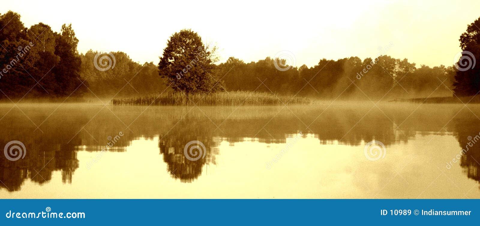 Jezioro mgliście rano vi