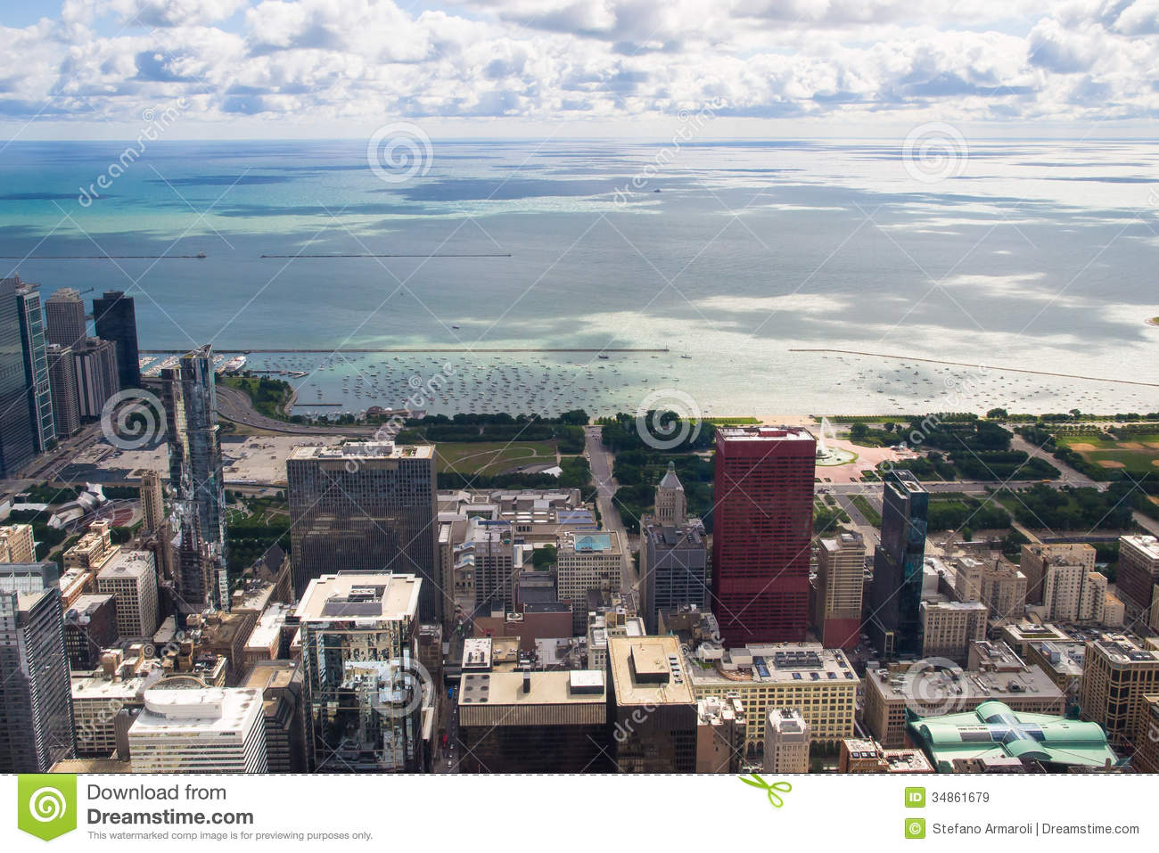 Jezioro Michigan panorama od Chicago wierza