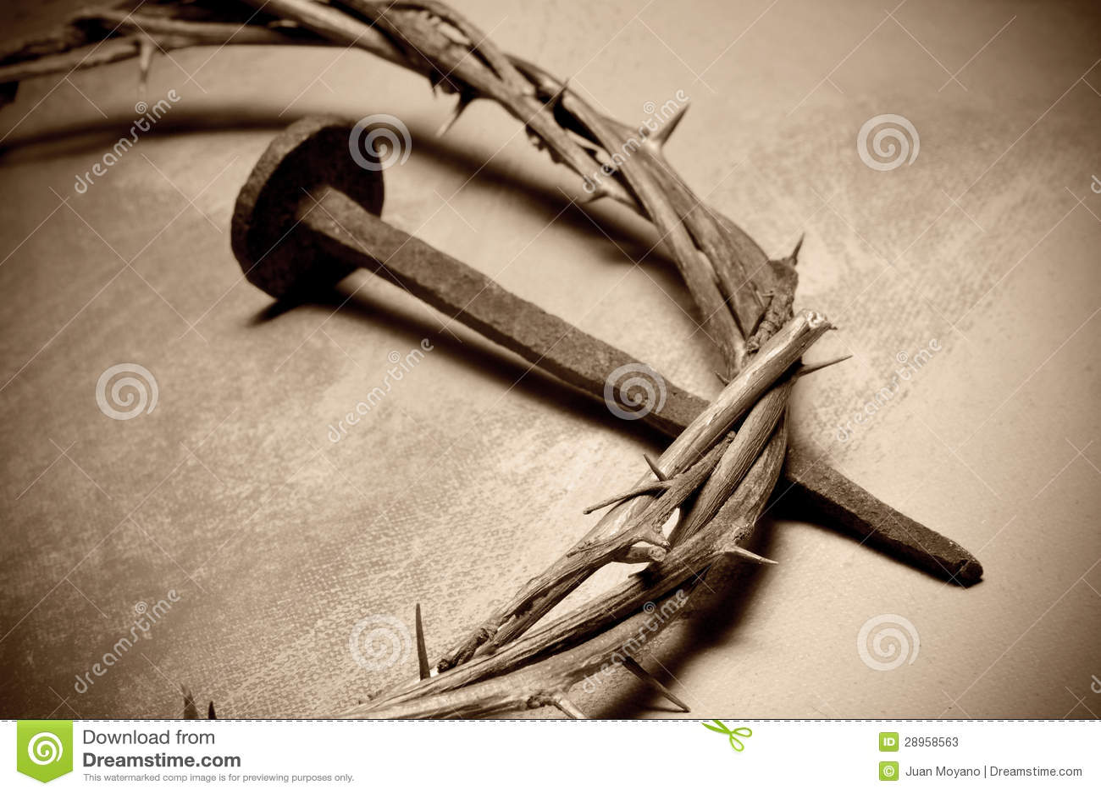 Jezus Chrystus korona ciernie i gwóźdź