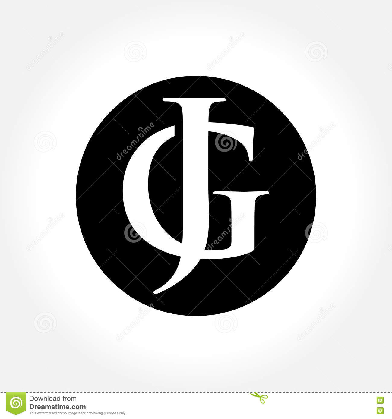 JG Initial Letters Inside Circle Monogram Logo Royalty Free Stock Photography