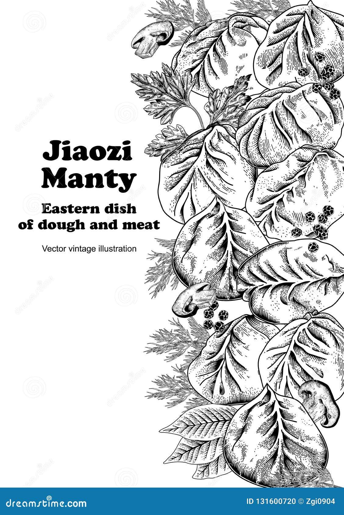 Jiaozi. Manty. Meat dumplings. National dishes.