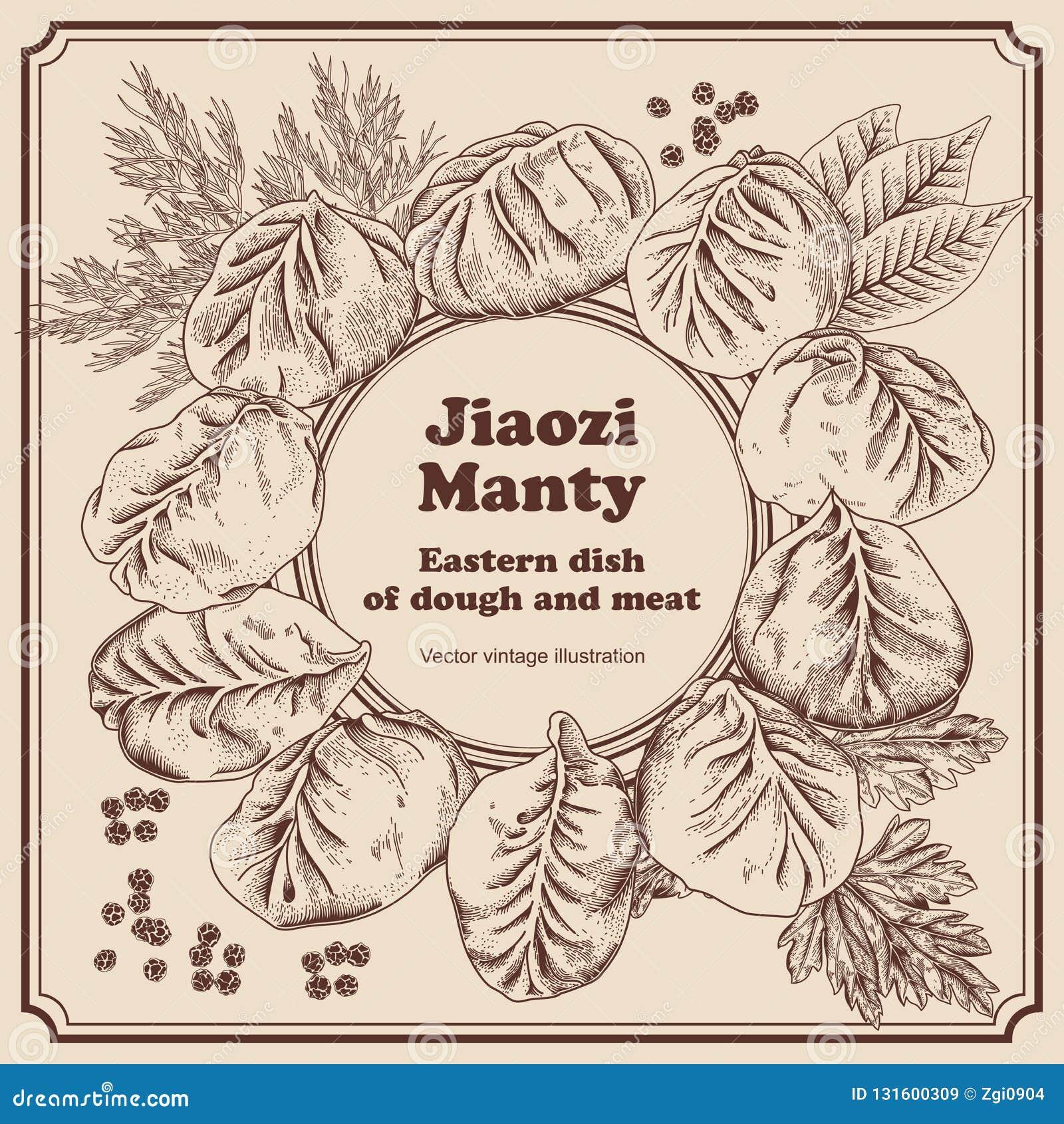 Jiaozi Manty Russisches pelmeni auf einer Platte Mahlzeit von den Meeresfrüchten