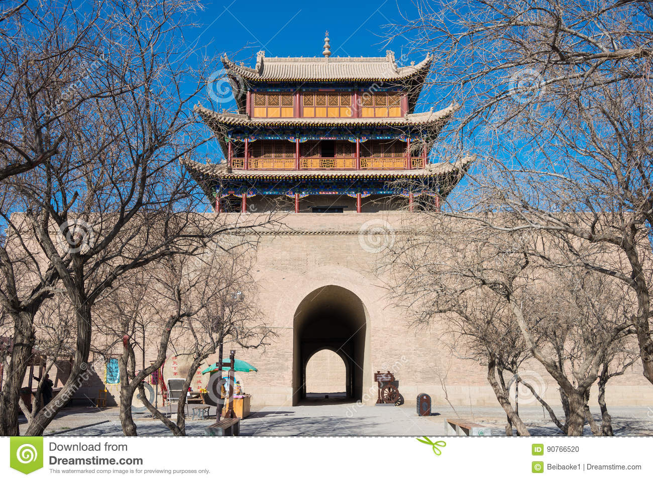 JIAYUGUAN, CHINA - Apr 13 2015: Jiayuguan Pass, west end of Great Wall. a famous Historical site(UNESCO World Heritage Site) in J