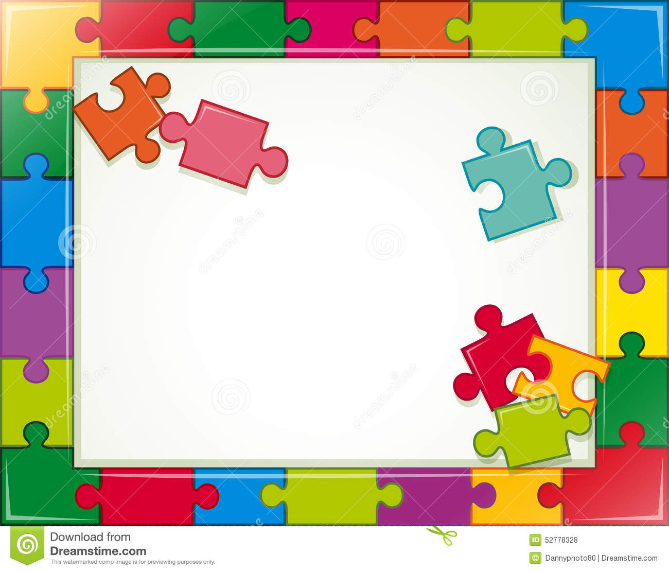 Jigsaw Frame Stock Vector Illustration Of Pieces Classic