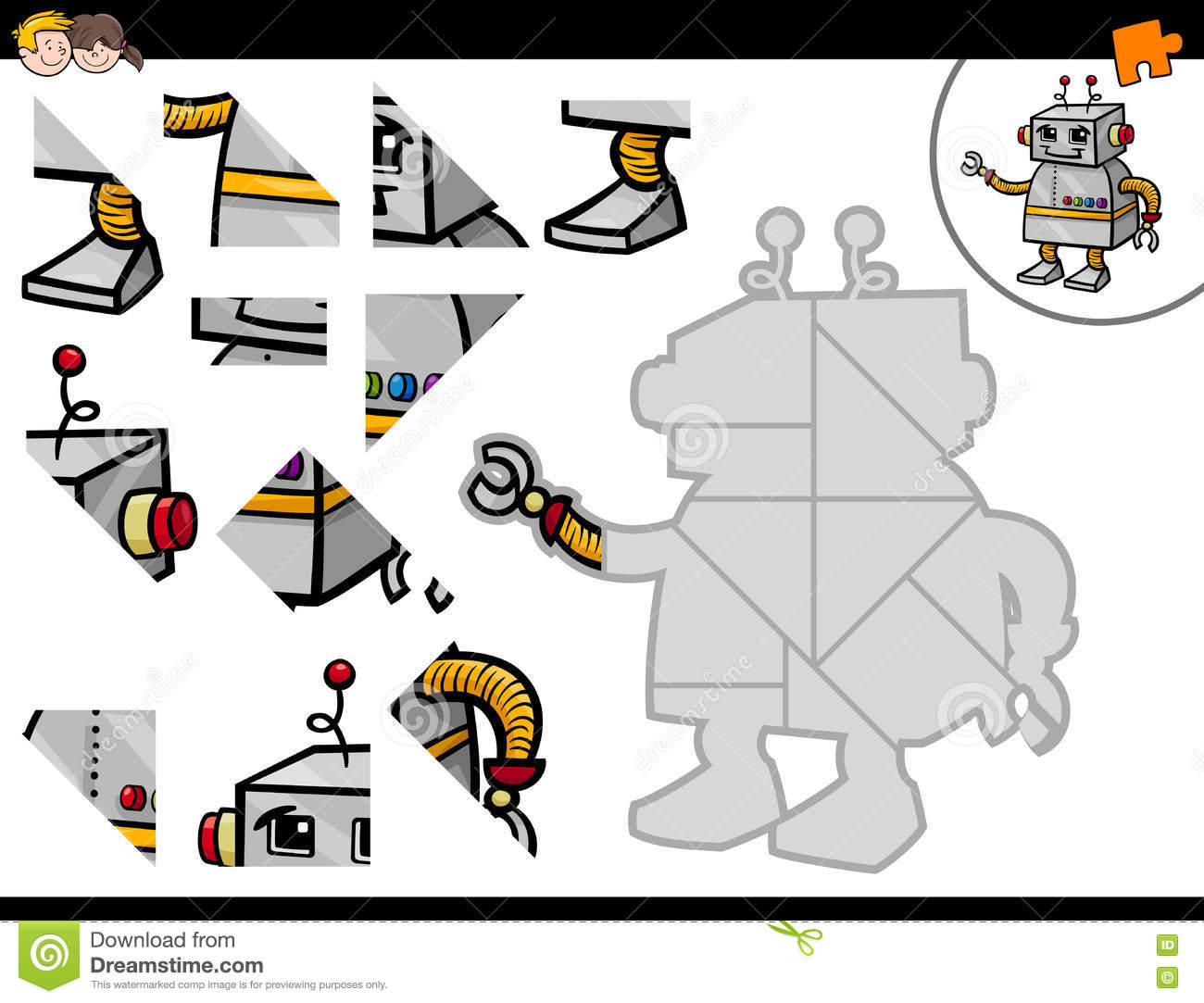 Jigsaw Puzzle Activity With Robot Stock Vector - Illustration of ...